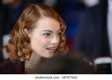 "BERLIN - GERMANY - APRIL 15: Emma Stone at ""The Amazing Spider-Man 2"" premiere at CineStar, Sony Center, Potsdamer Platz on April 15, 2014 in Berlin, Germany."