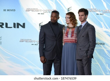 "BERLIN - GERMANY - APRIL 15: Jamie Foxx, Emma Stone and Andrew Garfield at ""The Amazing Spider-Man 2"" premiere at CineStar, Sony Center, Potsdamer Platz on April 15, 2014 in Berlin, Germany."