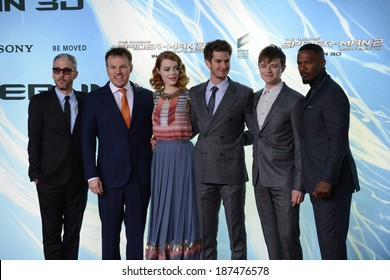 "BERLIN - GERMANY - APRIL 15: Matthew Tolmach, Marc Webb, Emma Stone, Andrew Garfield, Dane DeHaan and Jamie Foxx at ""The Amazing Spider-Man 2"" premiere on April 15, 2014 in Berlin, Germany."