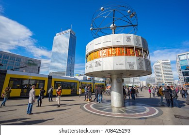 Berlin, Germany - April 16, 2016: Alexanderplatz Square with the World Clock in Berlin city, Germany.