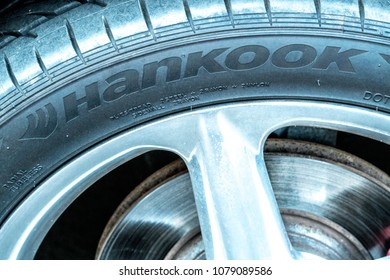 Berlin, Germany - April 18, 2018: Hankook Tire. The Hankook Tire group is a South Korean tire company. Based in Seoul, South Korea, the Hankook group is the 7th largest tire company in the world
