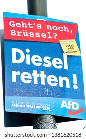 Berlin, Germany - April 18, 2019: Political campaign poster of the German right-wing to far-right political party Alternative for Germany (AFD) for the European Parliament elections in May