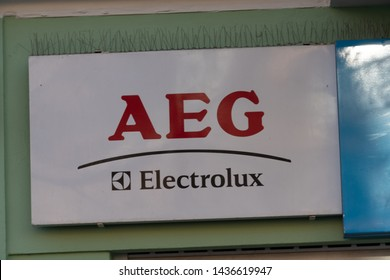 Berlin, Germany - April 18, 2019: Aeg logo. Allgemeine Elektricitaets-Gesellschaft was German producer of electrical equipment, in 2005 Electrolux obtained the rights to brand name AEG