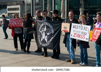 BERLIN, GERMANY - APRIL 19, 2014: Protest activists Animal Protection Society of Berlin against the use of wild animals in the circus