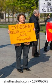 BERLIN, GERMANY - APRIL 19, 2014: Protest on the recognition of the Armenian Genocide by Turkey in the Ottoman Empire. Text: Erdogan (Name's Prime minister): Kessab was and is Armenian!