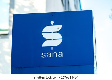 Berlin, Germany - April 19, 2018: Signage of Sana Immobilien Service GmbH, service company of Sana Klinik AG advising Sana's clinics with expertise, supporting and relieving health facilities