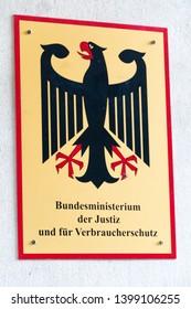 Berlin, Germany - April 19, 2019: Sign of Bundesministerium der Justiz und für Verbraucherschutz (BMJ), German Federal Ministry of Justice and Consumer Protection