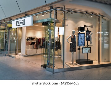 BERLIN, GERMANY - APRIL 19, 2019: Wolford store facade in Tegel airport. Based in Bregenz Wolford AG is the leading manufacturer of exclusive hosiery, sexy lingerie and smooth on the skin bodywear.