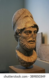 BERLIN, GERMANY - APRIL 2, 2010: Exhibition Old Museum (Altes Museum) Portrait of Pericles Roman copy of a statue of Kresilas on the Athenian Acropolis.  From the island of Lesbos, to 429th BC