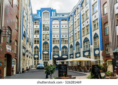 BERLIN, GERMANY - APRIL 20, 2016: Hacke's Courtyards (Hackesche Hofe) - series of courtyards joined together to one large complex with multiple uses; one of Berlin's most popular tourist attractions.
