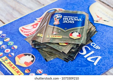 BERLIN, GERMANY - APRIL 20, 2018: Panini collection album and sticker packs for the football/soccer world championship in Russia 2018.