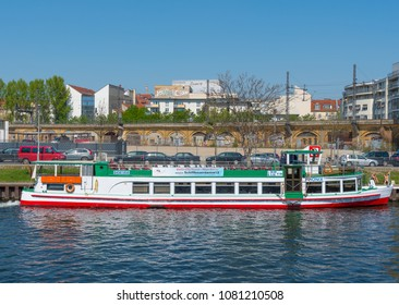 Berlin Germany - April 20. 2018: Canal tour boat River Spree