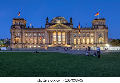 Berlin, Germany - April 20, 2018: Night image of The Reichstag building in Berlin, Germany, these days housing the German Parliament, or the Bundestag.
