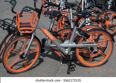 Berlin, Germany - april 2018: Mobike bikes.  Mobike is a bicycle sharing system headquartered in Beijing, China
