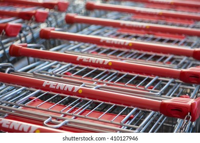 """Berlin, Germany - April 21, 2016: shopping carts in """"Penny"""" supermarket"""