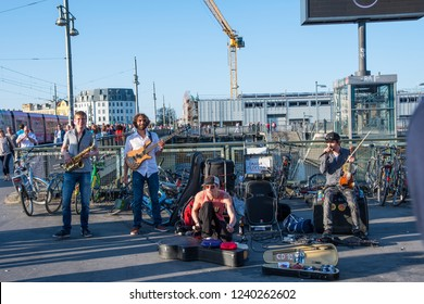 "Berlin Germany - April 21. 2018: The band ""Tanga electra"" playing at warschauer street train station"