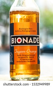 Berlin, Germany - April 21, 2019: Bionade bottle, a German range of non-alcoholic, organic fermented and carbonated beverages