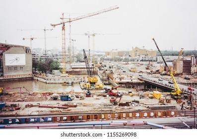 BERLIN, GERMANY - APRIL 25, 1996: Potsdamer Platz has been the largest building site in whole Europe