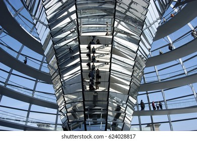 Berlin, Germany, April 25, 2006: View of Reichstag dome. The Reichstag dome is a glass dome constructed on top of the rebuilt Reichstag building.