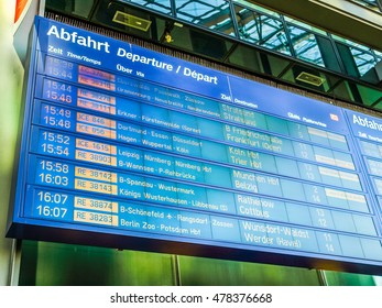 BERLIN, GERMANY - APRIL 25, 2010: Train departures timetable in Berliner Hauptbahnhof (Central station) showing trains for Frankfurt, Koeln, Muenchen and other german destinations (HDR)