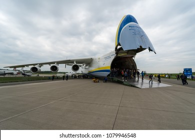 BERLIN, GERMANY - APRIL 25, 2018: Strategic airlifter Antonov An-225 Mriya by Antonov Airlines on the airfield. Exhibition ILA Berlin Air Show 2018
