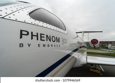 BERLIN, GERMANY - APRIL 25, 2018: Light business jet Embraer EMB-505 Phenom 300. Exhibition ILA Berlin Air Show 2018