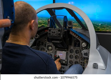 BERLIN, GERMANY - APRIL 25, 2018: Cockpit of multirole fighter Panavia Tornado. Training simulator for military pilots. Exhibition ILA Berlin Air Show 2018