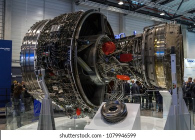 BERLIN, GERMANY - APRIL 25, 2018: Turbofan jet engines Rolls-Royce Trent XWB. Exhibition ILA Berlin Air Show 2018