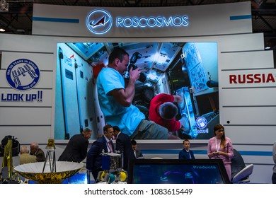 BERLIN, GERMANY - APRIL 25, 2018: Stand of the company Roscosmos (Roscosmos State Corporation for Space Activities, Russia). Exhibition ILA Berlin Air Show 2018
