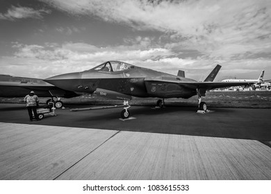 BERLIN, GERMANY - APRIL 25, 2018: Stealth multirole fighter Lockheed Martin F-35 Lightning II. US Air Force. Black and white. Exhibition ILA Berlin Air Show 2018