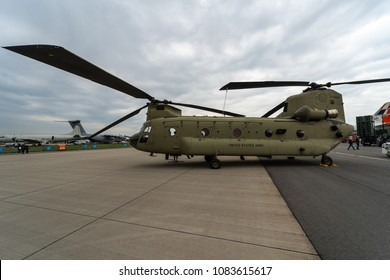 BERLIN, GERMANY - APRIL 25, 2018: Transport helicopter Boeing CH-47 Chinook. US Army. Exhibition ILA Berlin Air Show 2018