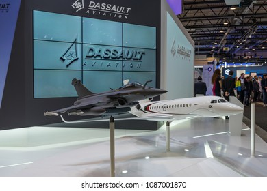 BERLIN, GERMANY - APRIL 25, 2018: The stand of Dassault Aviation, French aircraft manufacturer of military, regional, and business jets. Exhibition ILA Berlin Air Show 2018.