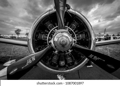 BERLIN, GERMANY - APRIL 25, 2018: Radial engine Wright R-1820-9 of the military trainer aircraft North American T-28B Trojan, close-up. US Navy.Black and white. Exhibition ILA Berlin Air Show 2018.