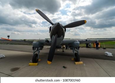 BERLIN, GERMANY - APRIL 25, 2018: Ground-attack aircraft Ilyushin Il-2 Sturmovik on the airfield. Exhibition ILA Berlin Air Show 2018.
