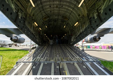 BERLIN, GERMANY - APRIL 25, 2018: The cargo compartment of the strategic and tactical airlifter Boeing C-17 Globemaster III. Exhibition ILA Berlin Air Show 2018.