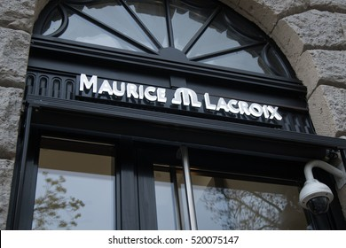 Berlin, Germany - April 26, 2016: Maurice Lacroix store. It is a luxury brand of Swiss watches based in the Canton of Jura and headquartered in Zurich