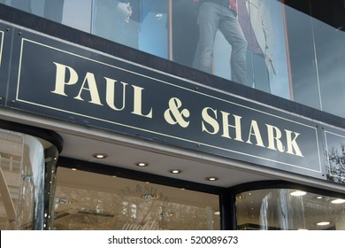 Berlin, Germany - April 26, 2016: Paul & Shark store. Founded in 1976 by the Italian Dini family, Paul & Shark is a brand leader of luxury and casual sportswear for men and women
