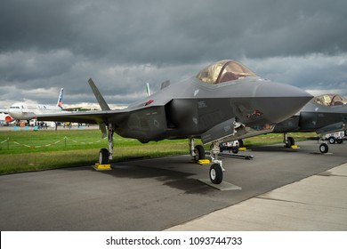 BERLIN, GERMANY - APRIL 26, 2018: Stealth multirole fighter Lockheed Martin F-35 Lightning II. US Air Force. Exhibition ILA Berlin Air Show 2018