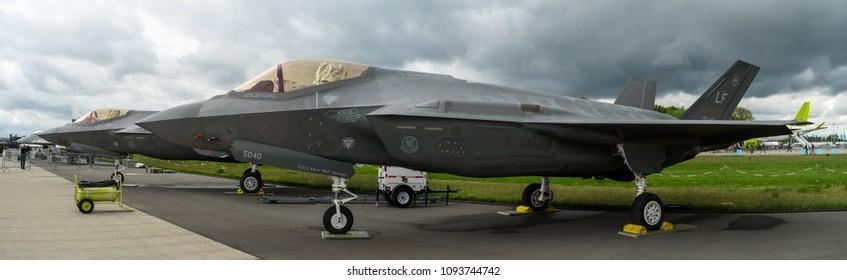 BERLIN, GERMANY - APRIL 26, 2018: Stealth multirole fighter Lockheed Martin F-35 Lightning II. US Air Force. Exhibition ILA Berlin Air Show 2018