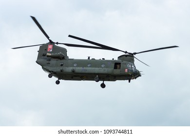 BERLIN, GERMANY - APRIL 26, 2018:  Demonstration flight of transport helicopter Boeing CH-47 Chinook. Royal Air Force. Exhibition ILA Berlin Air Show 2018