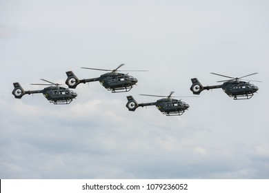 BERLIN, GERMANY - APRIL 27, 2018: Military utility helicopters Airbus Helicopters H145M of the German Air Force. Exhibition ILA Berlin Air Show 2018.