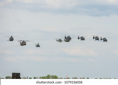 BERLIN, GERMANY - APRIL 27, 2018: Parade of various helicopters of the German Air Force. Exhibition ILA Berlin Air Show 2018.