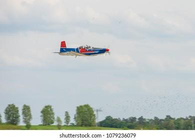 BERLIN, GERMANY - APRIL 27, 2018: Advanced Trainer aircraft Pilatus PC-9. Exhibition ILA Berlin Air Show 2018
