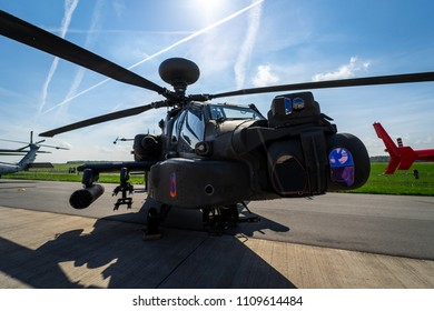 BERLIN, GERMANY - APRIL 27, 2018: Attack helicopter Boeing AH-64D Apache Longbow. US Army. Exhibition ILA Berlin Air Show 2018