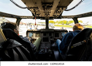 BERLIN, GERMANY - APRIL 27, 2018: Cockpit of the V/STOL military transport aircraft Bell Boeing V-22 Osprey. US Air Force. Exhibition ILA Berlin Air Show 2018