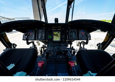 BERLIN, GERMANY - APRIL 27, 2018: Cockpit of the transport helicopter Boeing CH-47 Chinook. US Army. Exhibition ILA Berlin Air Show 2018