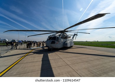 BERLIN, GERMANY - APRIL 27, 2018: Heavy-lift cargo helicopter Sikorsky CH-53K King Stallion by United States Marine Corps on the airfield. Exhibition ILA Berlin Air Show 2018