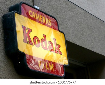 Berlin, Germany - April 28, 2018: Kodak sign on building exterior. Eastman Kodak Company is an American technology company that produces imaging products with its historic basis on photography