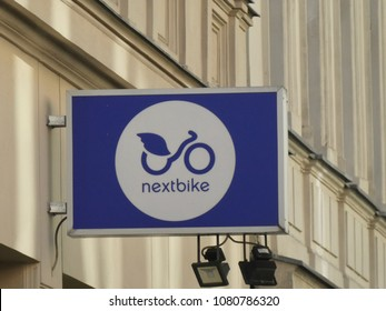 Berlin, Germany - April 28, 2018: Nextbike company signage. Deezer Nextbike is a German company that develops and operates public bike-sharing systems