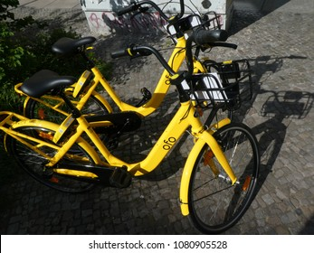 Berlin, Germany - April 28, 2018: Ofo bike sharing emblem. Ofo is a Beijing-based bicycle sharing company founded in 2014. The dockless Ofo system uses a smartphone app to unlock bicycles